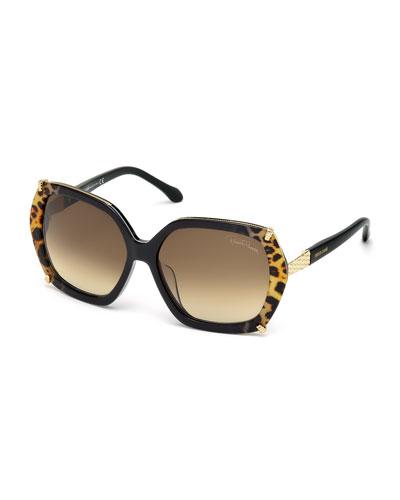 Geometric Leopard-Print Oversize Sunglasses, Black