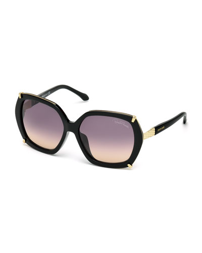 Geometric Oversize Sunglasses, Black