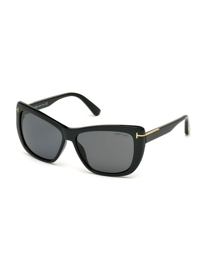 Lindsay Polarized Cat-Eye Sunglasses, Black