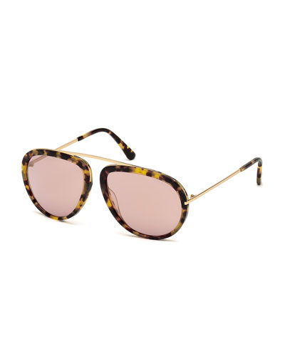 Stacey Aviator Sunglasses, Havana/Rose Gold