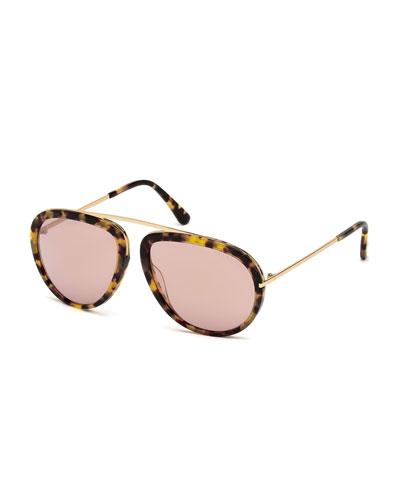 Stacey Aviator Sunglasses, Havana/Rose Gold