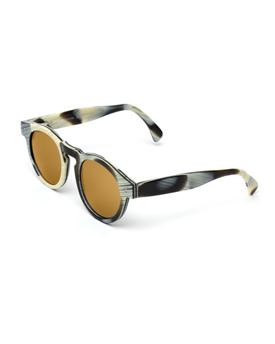 Leonard Round Mirrored Sunglasses, Horn/Gold