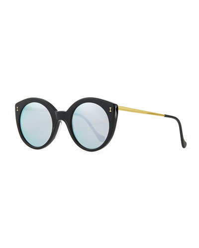 Palm Beach Mirrored Sunglasses, Black/Silver