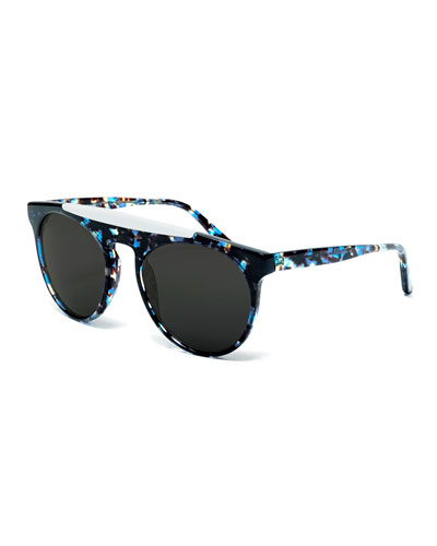 Atomic Rounded Square Sunglasses, Blue/White