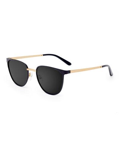 Money Square Stainless Steel Sunglasses, Black