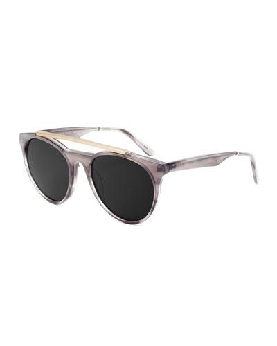 Sugarman Rounded Square Sunglasses, Gray/Gold