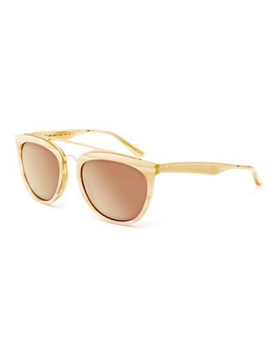Volunteers Square Metal-Bridge Sunglasses, Cream/Horn
