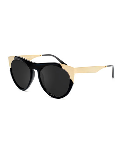 Zoubisou Cat-Eye Sunglasses, Black/Gold