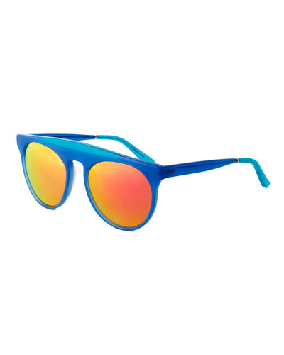 Baja East Atomic Brow-Bar Sunglasses, Baja Blue