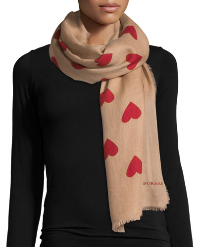 Lightweight Heart-Print Cashmere Scarf, Camel/Red