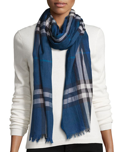 Giant Check Wool/Silk Gauze Scarf, Marine Blue