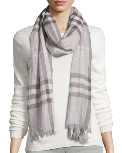 Giant Check Wool/Silk Gauze Scarf, Pale Gray