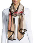 Mega Check Ultra-Washed Silk Scarf, Camel
