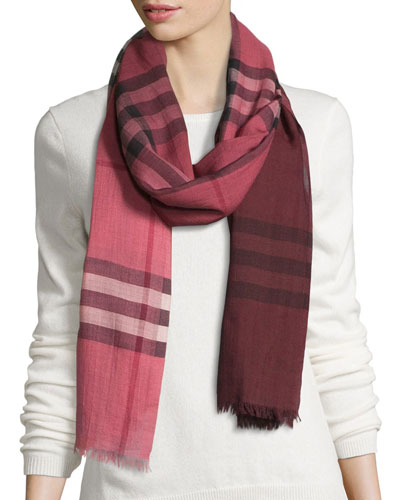 Ombre Giant Check Wool/Silk Gauze Scarf, Blush Pink