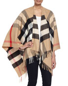 Collette Check Fringe-Trim Cape, Camel