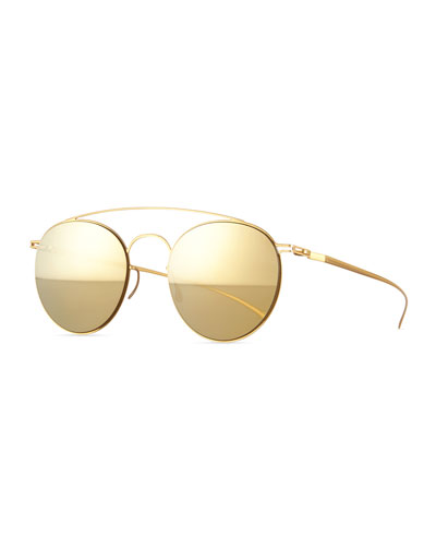 Round Stainless Steel Double-Bridge Sunglasses, Golden Mirrored
