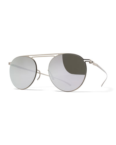 Essential Floating-Lens Round Sunglasses, Silver