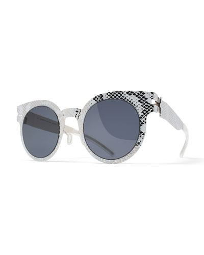 Transfer Rounded Square Embossed Sunglasses, Silver/White