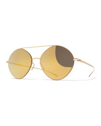 Essential Brow-Bar Round Sunglasses, Golden