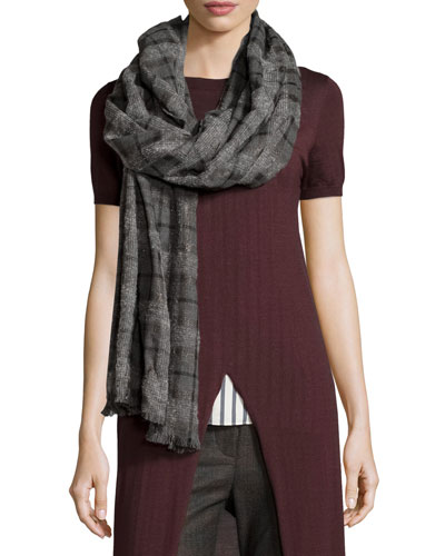 Cashmere Check Scarf, Gray/Black