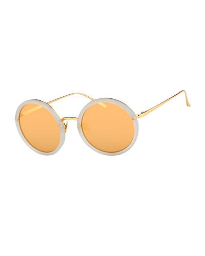 Trimmed Round Mirrored Sunglasses, Smoke/Yellow Gold
