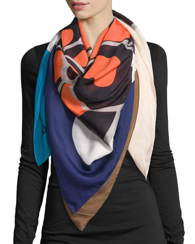 Square Flower Silk Scarf, Midnight