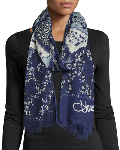 Collage Denim Modal Scarf, Blue/White