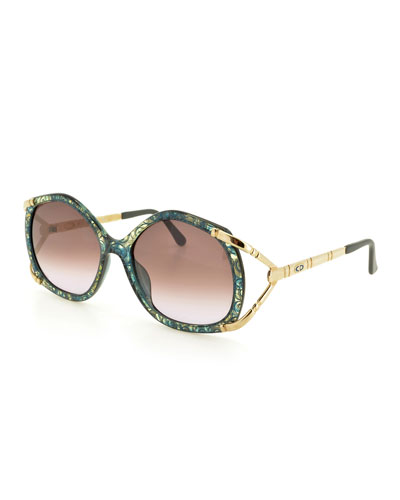 Printed Geometric Gradient Sunglasses, Green
