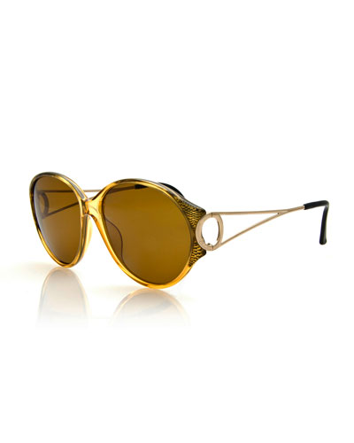 Round Open-Arm Monochromatic Sunglasses, Yellow/Gold