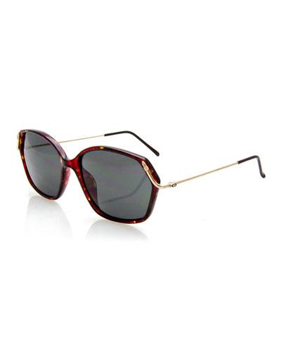 Geometric Monochromatic Sunglasses, Red/Brown