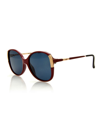 Monochromatic Square Metal-Trim Sunglasses, Red