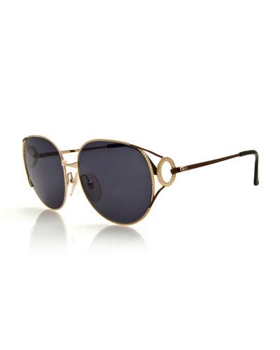 Oversized Monochromatic Bead-Trim Sunglasses, Gold