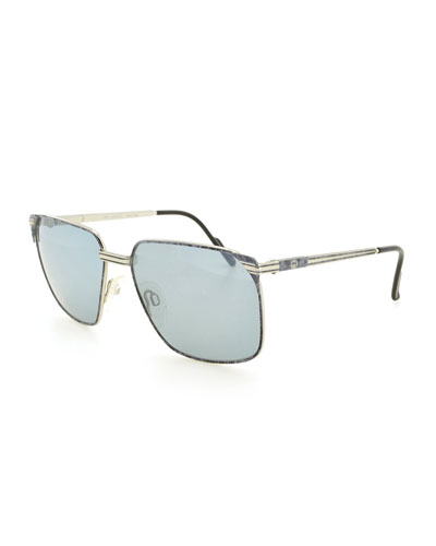 Square Metal Sunglasses, Gray/Gold