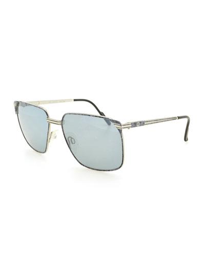 Square Metal Sunglasses, Gray/Gold