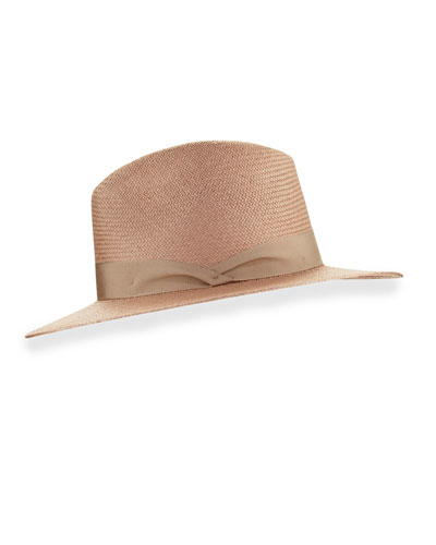 Panama Straw Fedora Hat, Taupe