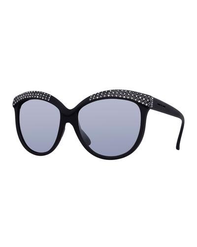 I-Lux Matte Cat-Eye Sunglasses, Black