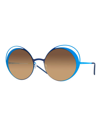 I-Metal Thin Two-Tone Butterfly Sunglasses, Blue