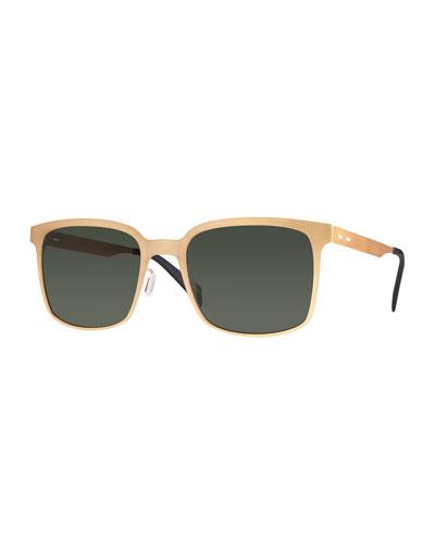 I-Metal Monochromatic Cat-Eye Sunglasses, Gold