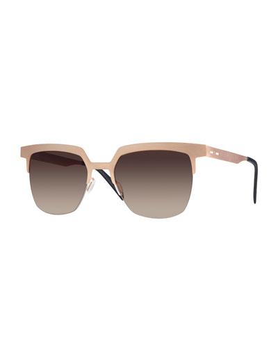 I-Metal Gradient Cat-Eye Sunglasses, Rose Gold