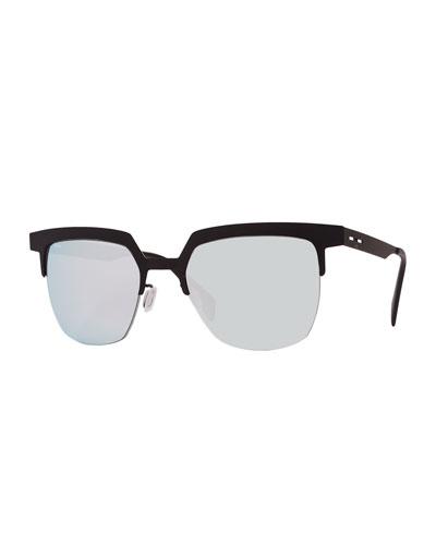 I-Metal Mirrored Cat-Eye Sunglasses, Black