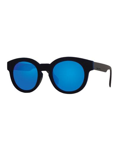I-Plastik Velvet Square Sunglasses, Navy