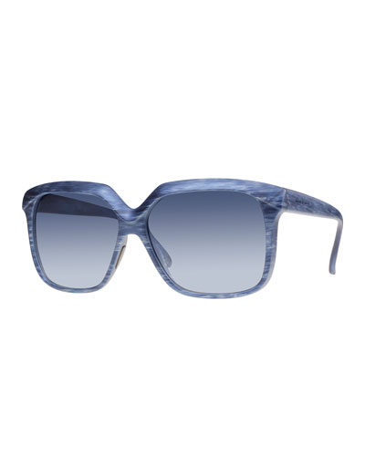 I-Plastik Brushed Square Sunglasses, Blue