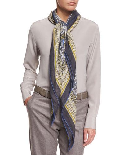 Maxi Carré Paisley Cashmere & Silk Scarf, Blue