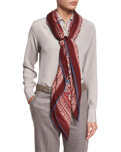 Maxi Carré Paisley Cashmere & Silk Scarf, Red