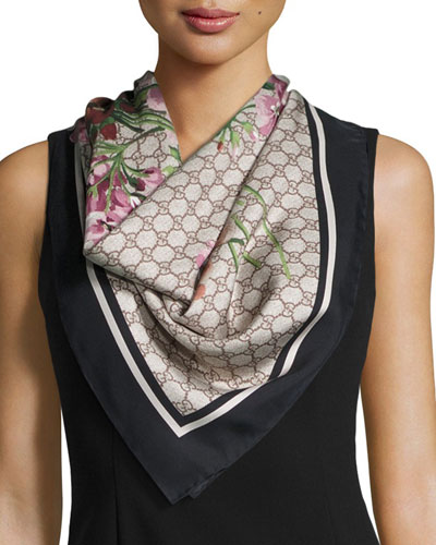 Floral-Print Guccissima Foulard Scarf, Black/Brown