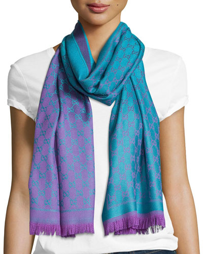 Reversible Wool Stencil Scarf, Turquoise/Purple