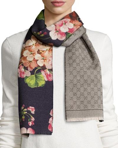 Miniorophin Floral & Logo Wool Scarf, Blue/Pink