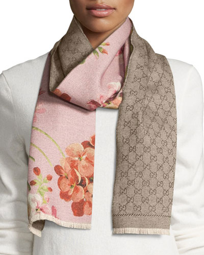 Miniorophin Floral & Logo Wool Scarf, Shell/Pink