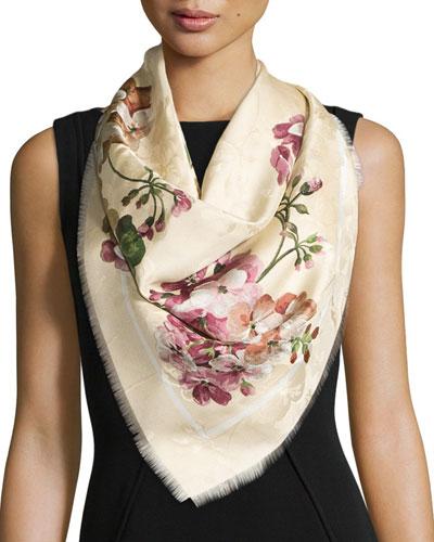 Gerabloom Jacquard Square Silk Scarf, White/Pink