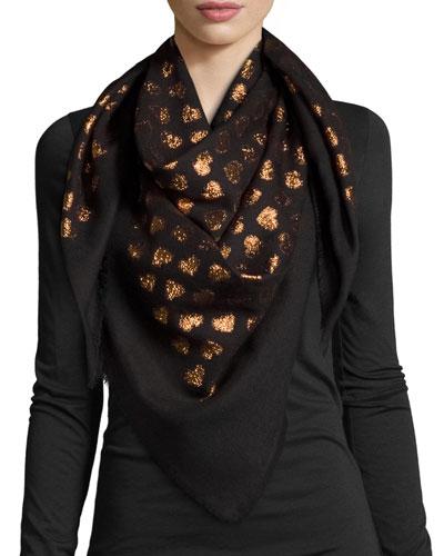 Alur Metallic Heart Woven Shawl, Black/Copper